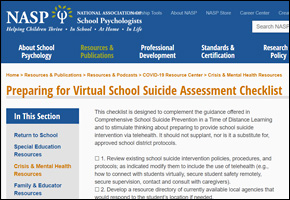 RES Pandemic COVID Website Image NASP Virtual School Suicide Assessment Checklist
