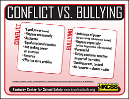 SSI Bullying Website Image KCSS Conflict v Bullying handout