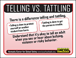 SSI Bullying Website Image KCSS Telling v Tattling handout