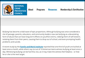 SSI Bullying Website Image NCPC Bullying