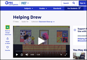 SSI Bullying Website Image PBS Helping Drew