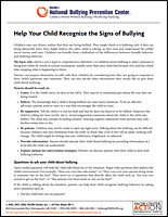 SSI Bullying Website Image Pacers Talk Child Bullying handout