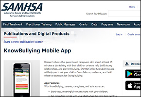 SSI Bullying Website Image SAMHSA Know Bullying App