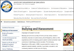 SSI Bullying Website Image KY Department of Education KDE Bullying