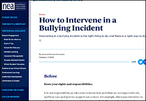 SSI Bullying Website Image NEA How to Intervene in a Bullying Incident