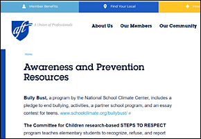 SSI Classroom Management Website Image AFT Awareness Prevention Resources