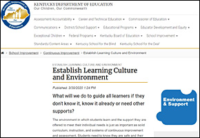 SSI Classroom Management Website Image KY Department of Education KDE Culture Environment