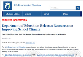 SSI Classroom Management Website Image US Dept of Ed Resources