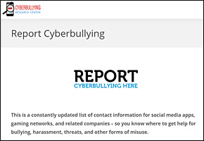 SSI Cyber Bullying Website Image Cyberbullying Research Center Report
