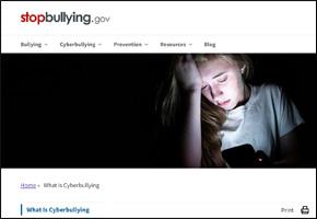 SSI Cyber Bullying Website Image StopBullying.Gov