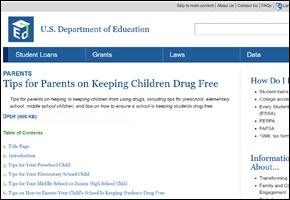 SSI Drug Abuse Website Image US Department of Education Tips