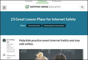 SSI Internet Safety Website Image Common Sense Education Lesson Plans