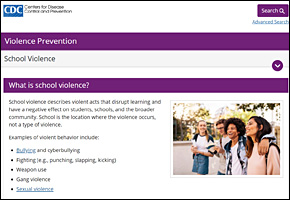 SSI School Violence Website Image CDC School Violence Prevention