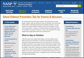 SSI School Violence Website Image NASP Tips Parents Educators