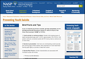 SSI Suicide Website Image NASP Preventing Suicide