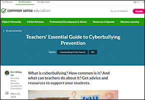 SSI Cyber Bullying Website Image Common Sense Media Teachers Guide to Cyberbullying Prevention
