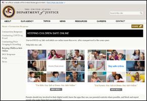 SSI Internet Safety Website Image DOJ Keeping Children Safe