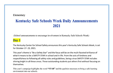 KCSS KY Safe Schools Week 2021 Daily Announcements - Elementary School