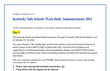 KCSS KY Safe Schools Week 2021 Daily Announcements - Middle-High School